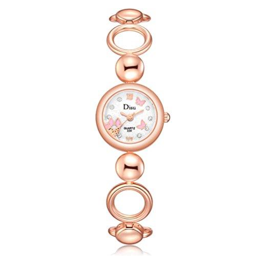 Schmetterling Rose Gold Plated Damenuhr Upxiang Damen Quarzuhr Elegant Strass Armband Uhren (B)