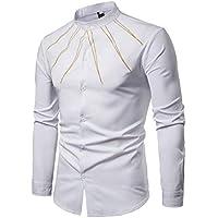 Camisa Slim Fit Casual de Primavera para Hombre Camisa de Manga Larga Bordada Top Blusa