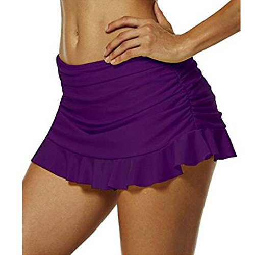 Highdas Damen UV Schutz Badeshorts Strand Bikini Hosenrock/Mini Röcke Kurz Skirt Einfarbig EU 34--EU 48 Lila