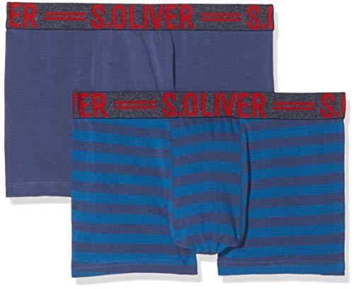 s.Oliver Herren Boxershorts 2R.895.97.4266 Blau Stripe & Solid Blue 10b6, Small (Herstellergröße: 4)