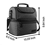 Feigu Lunch Box Insulated Lunch Bag, Large Cooler Tote Bag for Men and Women, Cool your food outdoors, in the car, work (Colour Black)