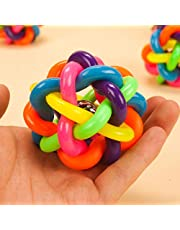 Foodie Puppies Rubber and Latex Squeaky Rainbow Woven Balls with Inner Bell Toys for Puppy and Kitten (Small)
