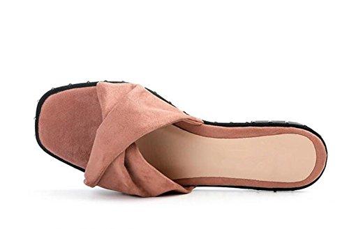 LDMB Frauen Sommer Open Toe Wildleder mit Nieten One Font Rutschfeste Breathable Pantoffeln Flip Flops Beach Schuhe Sandale Pink