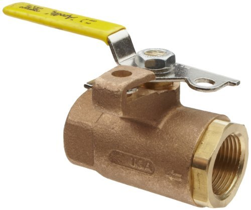 Apollo 75-100 Series Bronze Ball Valve with Automatic Drain, Two Piece, Inline, Lockable Lever, 3/4 NPT Female by Apollo Valve - Series Ball Valve
