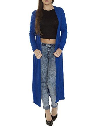Damen Langes Kardigan Maxi Kleid in ganzer Körperlänge, vorne offen Königsblau