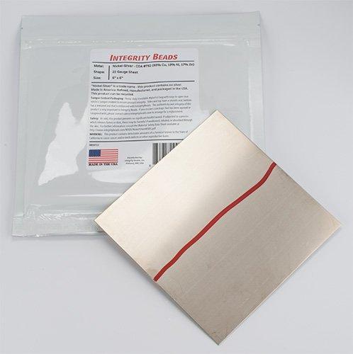 Blatt, Nickel-Silber, 22 Gauge, 15,2 x 15,2 cm 22 Gauge Sheet