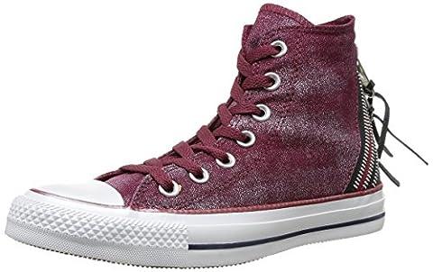 Converse Chuck Taylor All Star Femme Sparkle Wash Tri Zip Hi, Baskets mode femme - Rouge (18 Bordeaux), 36 EU