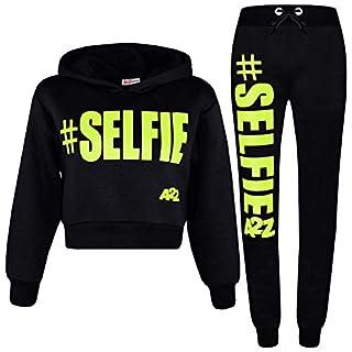 A2Z 4 Kids® Girls Tracksuit Fleece Hooded Crop Top Bottom Jogging Suit - T.S Crop #Selfie Black Neon Green 11-12
