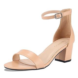 Qimaoo Damen Riemchensandalen 6cm Blockabsatz Sandalen Knöchelriemen Sandaletten Sommer High Heels Schuhe mit Absatz - Nude - 36 EU