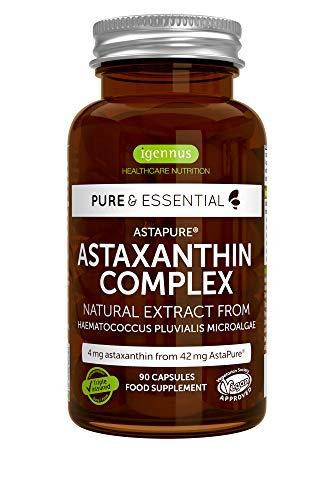 Pure & Essential Natürlicher Astaxanthin-Komplex, 4 mg Astaxanthin aus 42 mg AstaPure, mit Lutein und Zeaxanthin, Vegan, 90 Kapseln -