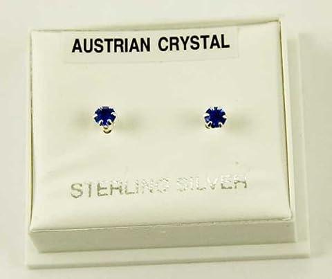 Earring Silver Stud Blue Claw Set Austrian Crystal Stone 3mm