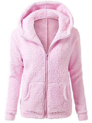 Vertvie Femme Veste Polaire Zippé Sweat-Shirt à Capuche Manteau Hoodie Chaud Automne Hiver (XL, Rose)