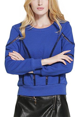 Fashion Cluster Femmes Casual Décontractée col rond manche longue évider Sweat-shirt pullover capuche T-shirt Blouse Tops Bleu