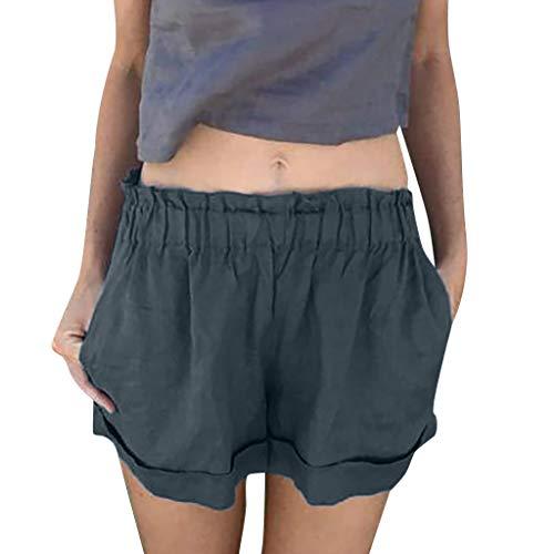 Damen Hohe Taille Sexy Tasche Kurze Pants Yogogo Sommer Yoga Leggings Yogahose Hosen Laufen Pants Sexy Druck Bleistift 3/4 Tummy Control Laufhose Gym Sport Workout Leggins Slim Fit Dünne Sporthose (Beige Ski Hose)