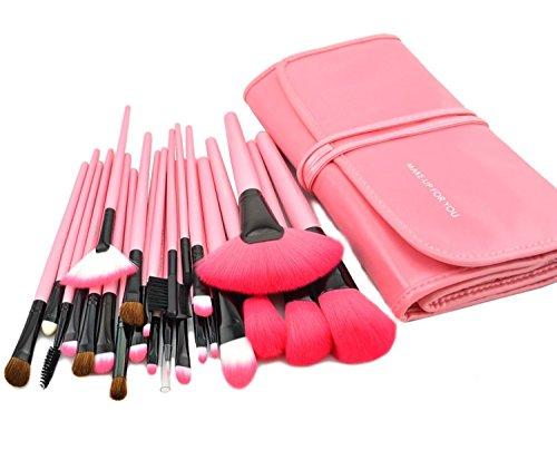 KanCai® 24 PCS pinceles de maquillaje profesional de mango de madera sintética cosméticos kit de pinceles y brochas de maquillaje con estuche de piel