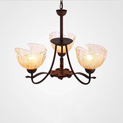 HONY Mediterrane Stil Eisen Kunst Kronleuchter, Mode Leicht Höhenverstellbar Vintage Wohnzimmer Restaurant Schlafzimmer 3 Flammen Glas Lampenschirm Pendelleuchte -
