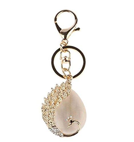 EEvER Schlüsselanhänger Zubehör Ornament Strass Pfau Schmetterling Anhänger Schlüsselbund Handtasche Zubehör Exquisite Schmuckstücke Schlüsselanhänger Geschenk (Farbe : Peacock, Größe : 3.5 * 5cm)