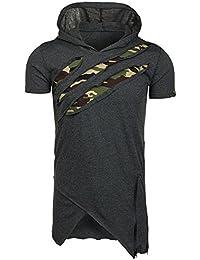 BOLF – T-shirt – Manches courtes – Capuche – Slim fit – Militaire – Camo – Motif – Homme [3C3]