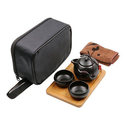 Tragbare Reise Kung Fu Tee-Set Chinese/Japanese Style, handgemachte Keramik Teekanne & 2 Schüsseln & Bambus Tee Behälter und Beutel (Schwarz)