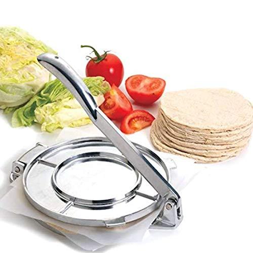 Tortilla Press, Premium-haltbare manuelle Tortilla Press mit Rezepten Kochgeschirr Tortilla Maker für köstliche Tortillas, Empanadas, Knödel, karibische Kebabs, Crepes Tortilla Roti Maker
