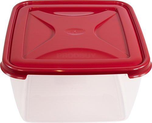 Plastic 15 Litre Square Cake Storage Box - Red Lid