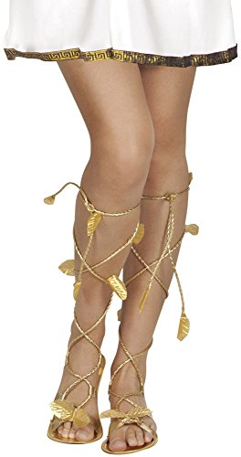 Roman Greek Gold Goddess God Sandals Xena Princess Leaf Venus Ladies Mens Girls Shoes Footwear Fancy Dress Costume Accessory by BOLAND (Göttin Venus Kostüm)