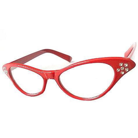 SODIAL(R) Rote Brille von Retro-Stil in 1950s fuer Frauen