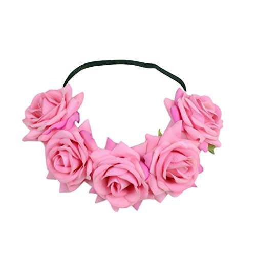 chzeit Blumen Haar Girlande Krone Stirnband Blumenkranz Hairband (Rosa) (Rosa Damen Haar)