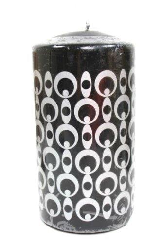 4 Stumpenkerze Marken Schmuck Kerze 150 x 80 mm Brenndauer 55 Std Schwarz Silber