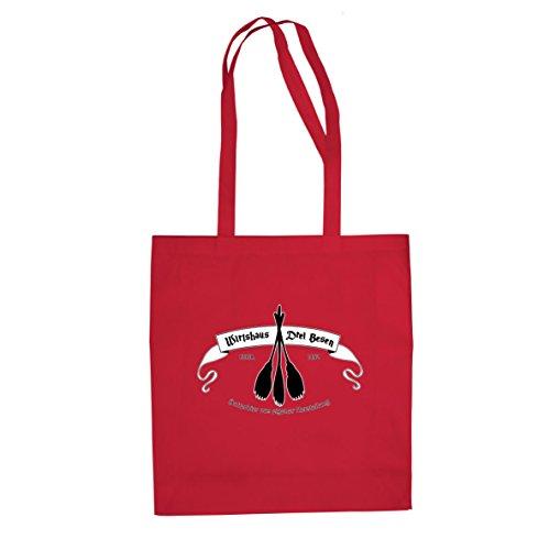 Planet Nerd HP Wirtshaus Drei Besen - Stofftasche/Beutel, Farbe: rot