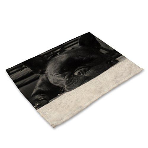 GT Napperons, Animal, Chien, Coton et lin, Impression, Tapis Western, Rectangulaire, Tapis antidérapant, Tapis imperméable, Couverts de table, Antidérapant, Lavable, Set de table, Résistant à l'usure, Résistant à la chaleur, Place tapis pour la cuisine table à manger, (4*Napperons, 42*32CM)