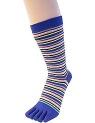 TOETOE chaussettes a doigt basiques mi mollet à bandes fines bleues