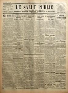 SALUT PUBLIC (LE) N? 291 du 18-10-1919 NOS NOIRS PAR ANDRE LICHTENBERGER - LA LIBERATION RUSSE - LA FORCE DU REGIME ROUGE SE CONCENTRE DANS LA VILLE DE MOSCOU - L'ALLEMAGNE ET LE TRAITE - APRES LE DEPART DE MANGIN LES ALLEMANDS RELEVENT LA TETE - LES RELATIONS AVEC L'ALLEMAGNE - UNE CRISE AU MAROC - LA MONNAIE INDIGENE CONCURRENCE LA MONNAIE FRANCAISE - EN ESPAGNE - LA SITUATION - NOS ALLIES D'AMERIQUE - LES CONTINGENTS AMERICAINS SONT REDUITS A 15000 HOMMES - LA SANTE DU PRESIDENT WILSON - A...
