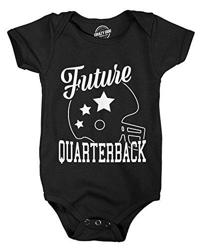 Crazy Dog Tshirts - Romper Future Quarterback Cute Football Shirt Game Day Baby Clothes (Black) - 0-3 Months - Baby-Enfant