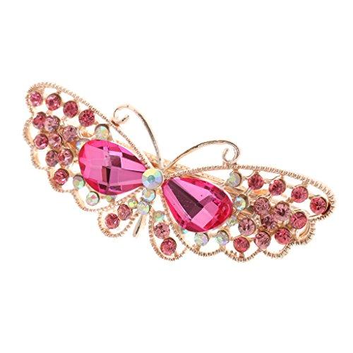 Frauen Kristall Strass Schmetterling Haarspange Clip Haarnadel Schleife Haarschmuck - Rosa (Rosa Strass-schleife)