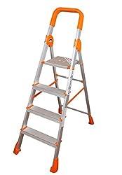 Cipla Plast Light Weight Full Aluminium Folding Ladder - Titanium 4 step + Free 14 Pcs Multipurpose Buffers - GEC-L4T