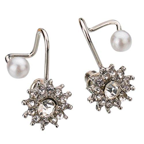 Ohrstecker Damen,DOLDOA Schmuck Ohrringe Earring Faux Perle Schneeflocke Snow Flower(Silber)