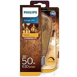 Philips ampoule LED Standard Edison Vintage Filament E27 8W Equivalent 50W Claire Ambrée Blanc chaud Compatible Variateur