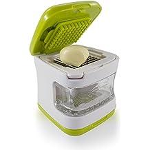 Sujeo mini prensa-ajos, triturador de ajos, picadora de ajos, plástico resistente con cuchillas de acero inoxidable, Con pelador, verde