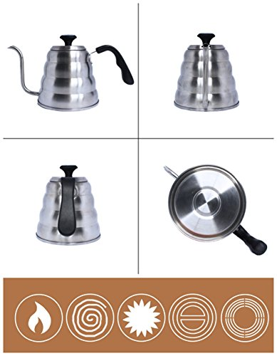 iNeibo Pour Over Coffee Kettle Thermometer 1.2L Stainless Steel Gooseneck Spout for Hand Drip Coffee -Silicone Bottom Mat for Bonus