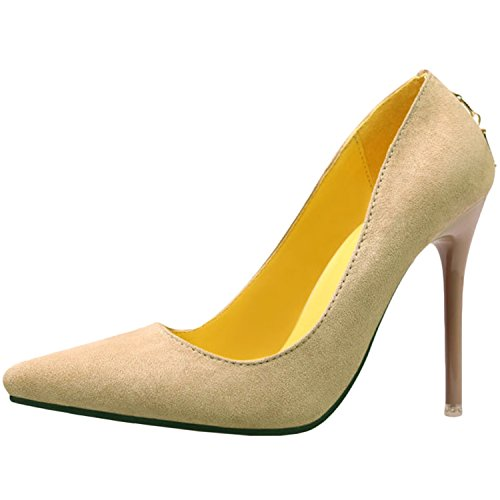 Oasap Women's Low Cut Pointed Toe Slip-on Stiletto Pumps Khaki