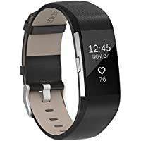 SnowCinda For Fitbit Charge 2 Strap Leather Band, Adjustable Replacement Sport Straps for Fitbit Charge 2 Fitness Wristband