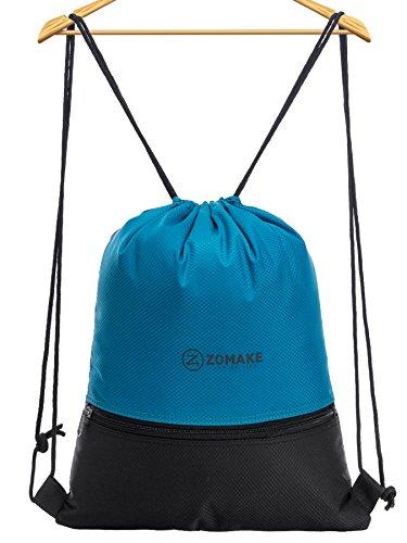 Sacca sportiva per uomo donna bambini - impermeabile gymsack con tasca della chiusura lampo per pallacanestro, calcio, nuoto, fitness, viaggi, shopping azzurro