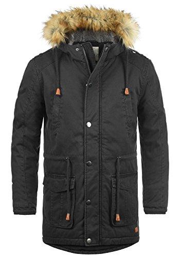 REDEFINED REBEL Mapee Herren Parka lange Winterjacke mit Kapuze und abnehmbarem Fellkragen aus 100% Baumwolle, Größe:M, Farbe:Black