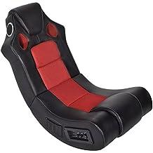 vidaXL Fauteuil à bascule enceinte bluetooth en cuir synthétique Noir et Rouge
