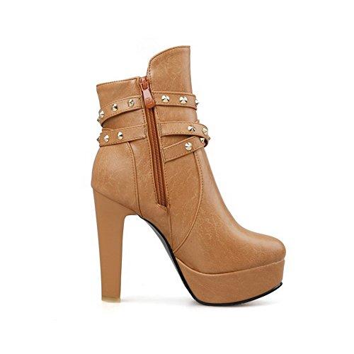 AllhqFashion Damen Hoher Absatz Rund Zehe Blend-Materialien Reißverschluss Stiefel Gelb