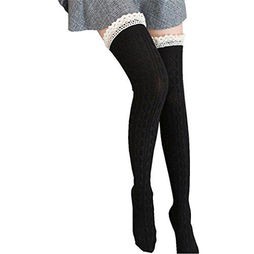 Saingace Frauen über dem Knie lange Socken Spitze Oberschenkel Hohe Strumpf Socken (Schwarz) (Frauen über Knie-strumpf)