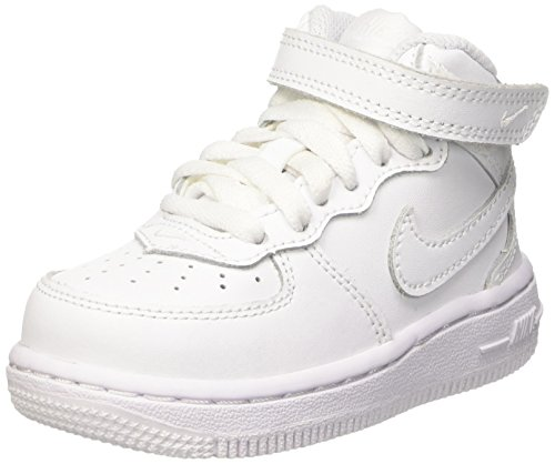 NIKE Force 1 Mid Td 314197 113 Unisex - Kinder Sportschuhe, Bianco (White/White-White), 27 EU (Air Force Kinder Nike 1)