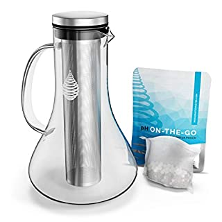 pH Replenish Glass Alkaline Water Pitcher/Jug - Alkaline Water Filter Pitcher/Jug by Invigorated Water - High pH Ionized Filtered Water Purifier - Includes Long Life Filter, 2019 Model, 1800ml (61oz)