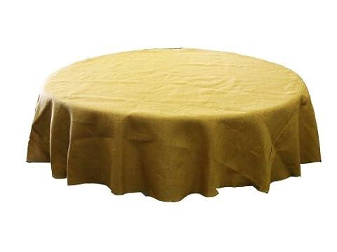 LA Linen Round Tablecloth, Jute Burlap, Natural, 90-Inch